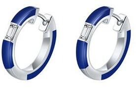 Camilla Blue Ceramic Diamond Huggie Earrings