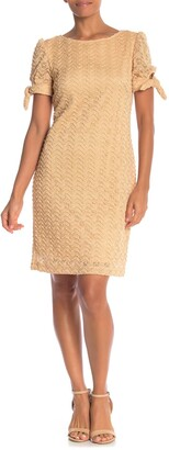 Sharagano Tie Sleeve Lace Dress