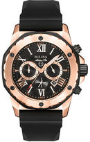 Bulova Men's Marine Star Chronograph Rose Gold Black Silicone Watch- 98B104