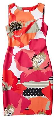 Calvin Klein Floral Print Sheath Dress (Hibiscus Multi) Women's Dress
