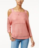 Hooked Up by It's Our Time Juniors' Open-Stitch Cold-Shoulder Sweater