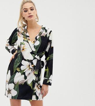 Asos Tall ASOS DESIGN Tall bamboo print velvet mini wrap dress