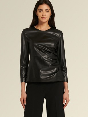 DKNY Donna Karan Women's Faux Leather Top With Side Ruching - Black - Size XL