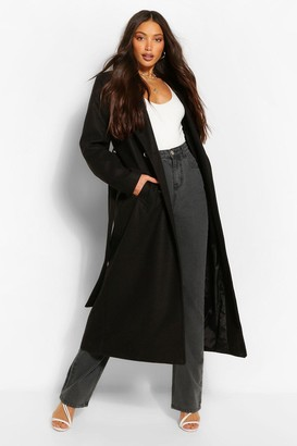 boohoo Tall Double Breasted Wool Look Longline Coat