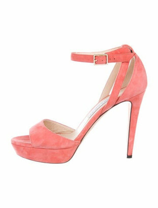 Jimmy Choo Suede Cutout Accent Sandals Pink