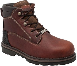 "AdTec Ad Tec Men's 6"" Steel Toe Work Boots Full Grain Tumbled Leather Oil Slip + Acid Resistant Construction Shoe Good Year Welt with Heel Kick"