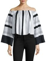KENDALL + KYLIE Jet Set to Tokyo Off-The-Shoulder Striped Top