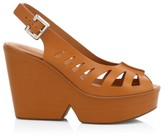 Clergerie Diane Peep-Toe Slingback Leather Wedge Sandals