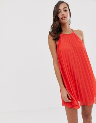 Asos Design DESIGN pleated mini trapeze dress with lace up back detail-Red