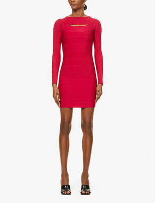 Herve Leger Boat-neck bandage stretch-knit mini dress