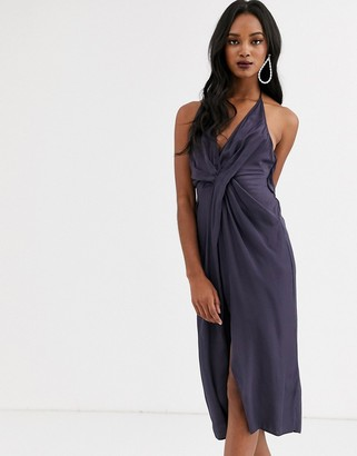 Asos Design DESIGN halter neck drape waist midi dress in satin
