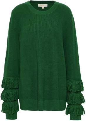 MICHAEL Michael Kors Fringe-trimmed Ribbed-knit Sweater