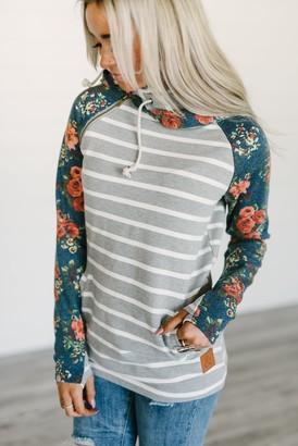 Ampersand Avenue Baseball DoubleHood Sweatshirt - Washed Blue Floral