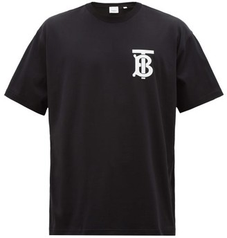 Burberry Emerson Tb-print Cotton-blend T-shirt - Black