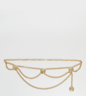 Asos DESIGN Curve hanging coin chain waist and hip belt in gold