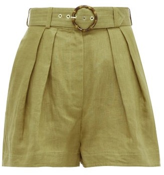 Zimmermann Super Eight High-rise Belted Linen Shorts - Womens - Khaki