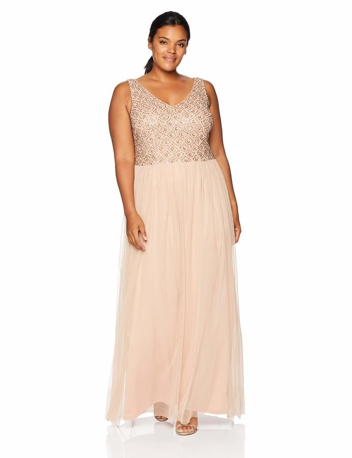 Adrianna Papell Women's Plus Size Sleeveless Beaded Bodice Long Tulle Dress