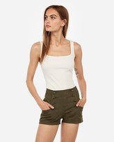 Express High Waisted Button Front Twill Shorts
