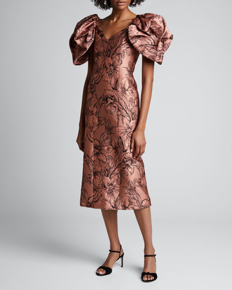 Johanna Ortiz Synchronicity Floral-Print Off-the-Shoulder Midi Dress