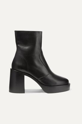 Simon Miller Low Raid Leather Platform Ankle Boots - Black