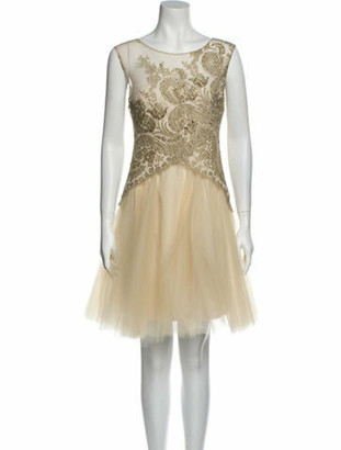 Marchesa Notte Bateau Neckline Mini Dress Gold