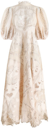 Zimmermann The Lovestruck Silk-Linen Lace Gown