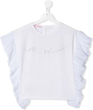 Miss Blumarine Studded Logo Ruffle Sleeve Top