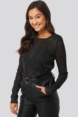 NA-KD Long Sleeve Glittery Top Black
