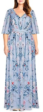 Adrianna Papell Size Floral Print Maxi Dress