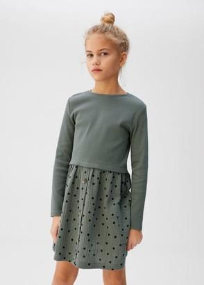 MANGO Contrast skirt dress khaki - 10 - Kids