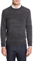 Neiman Marcus Cashmere-Cotton Athletic Crewneck Sweater, Derby Gray/Gray