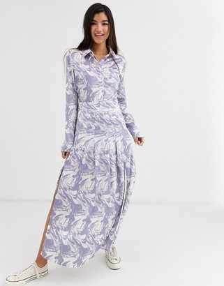 Glamorous midi shirt dress with pleated skirt in marble print