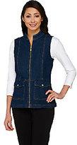 Liz Claiborne New York Zip Front Denim Vest with Stand Collar