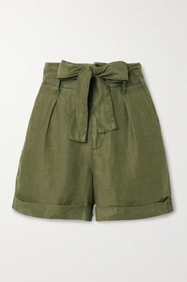 Alex Mill Avery Belted Pleated Linen Shorts - Army green