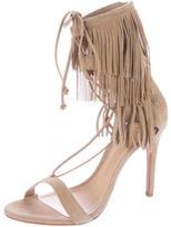 Schutz Lace-Up Fringe Sandals