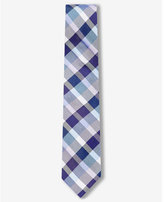 Express plaid narrow silk blend tie