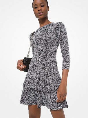 Michael Kors Tweed Jacquard Tiered Ruffle Dress