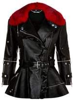 Alexander McQueen Fur Collar Biker Jacket