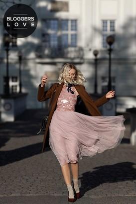 Little Mistress Mink Sequin Bust Midi Dress