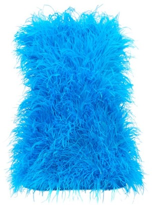 ATTICO The Strapless Ostrich Feather Mini Dress - Womens - Blue