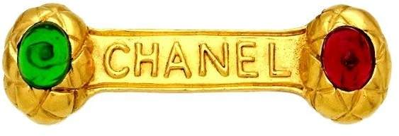 Chanel Logo Gold Tone Metal Red & Green Stone Pin Brooch