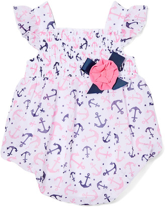 Baby Essentials Girls' Rompers Pink - Pink Anchor Smocked Angel-Sleeve Bubble Romper - Infant