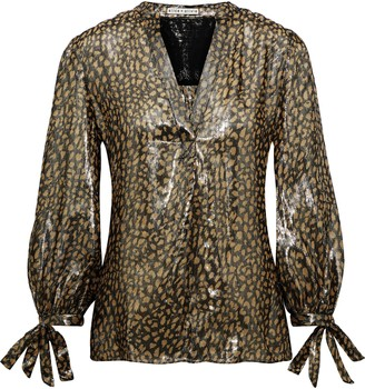 Alice + Olivia Shelia Metallic Leopard-print Silk-blend Blouse