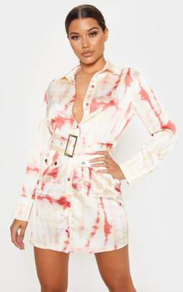 PrettyLittleThing Red Acid Wash Shirt Dress