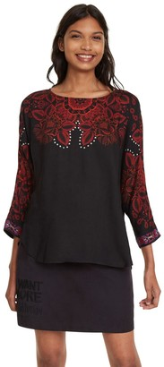 Desigual Floral Print Blouse with 3/4 Length Sleeves