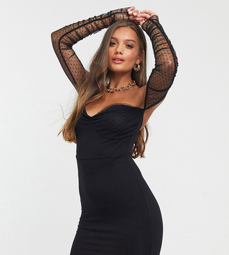 ASOS DESIGN Petite dobby mesh bardot sleeve bodycon mini dress in black