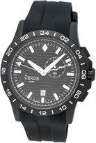 Venus of Switzerland GMT-Alarm Gent Chronograph Watch, Black/White