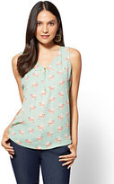 New York & Co. Zip-Front V-Neck Shell - Bird Print