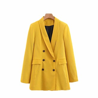 DFLYHLH Women Blazer Autumn Spring Double Breasted Casual Fashion Long Sleeve Coat Outerwear Purple S