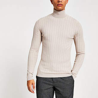 River Island Stone roll neck muscle fit ribbed jumper